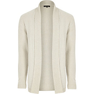 Cream ribbed open cardigan