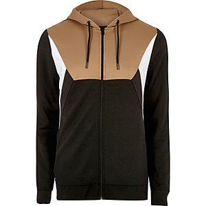 Sweat à capuche zippé marron clair style colour block