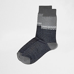 Navy fairisle print socks