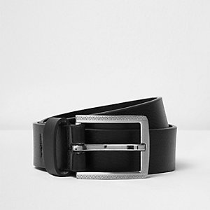 Black leather look belt