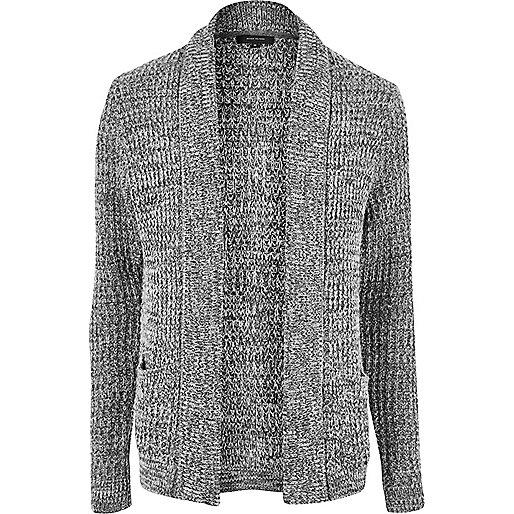 Grey soft foldback cardigan