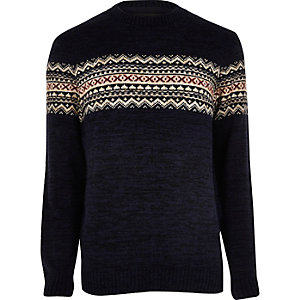 Navy fairisle knit jumper