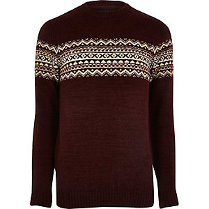 Dark red fairisle knit jumper