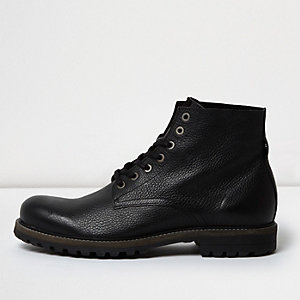 Black textured leather boots