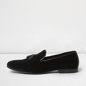 Schwarze Loafer aus Samt mit Quaste