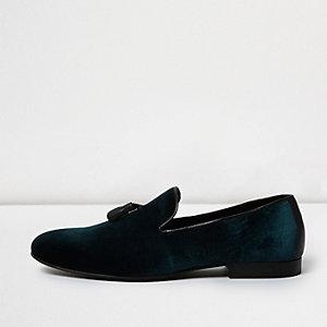 Green velvet tassel loafers