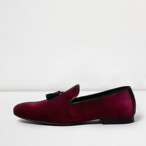 Burgundy velvet tassel loafers