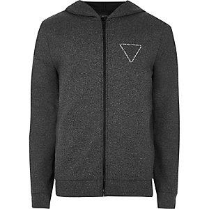 Sweat gris foncé zippé avec logo et capuche