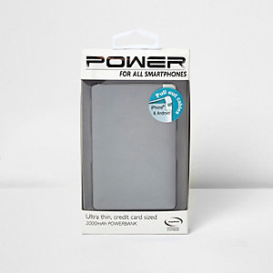 Grey credit card size powerbank