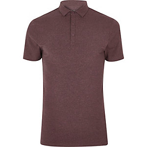 Purple muscle fit polo shirt