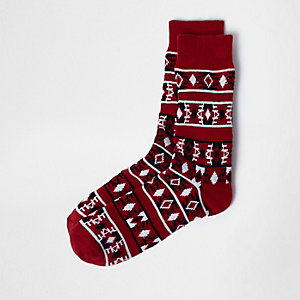 Red Aztec print socks