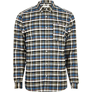 Blue casual check slim fit shirt