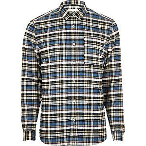 Chemise à carreaux bleue casual cintrée