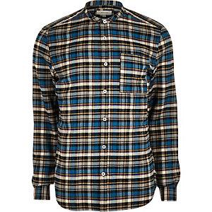 Chemise à carreaux bleue cintrée casual sans col