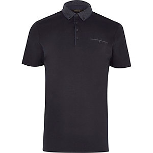 Navy button-down polo shirt