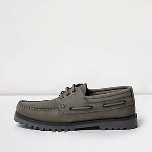 Grey nubuck cleated boat shoes