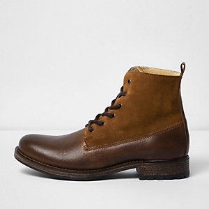 Brown leather panel borg lined boots