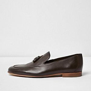 Dark brown leather tassel formal loafers