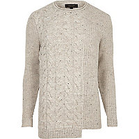 Cream spliced cable knit sweater