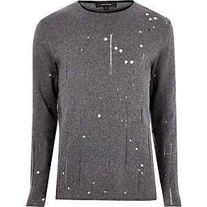 Dark grey laddered slim fit jumper