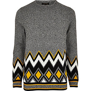Grey zig zag twist jumper