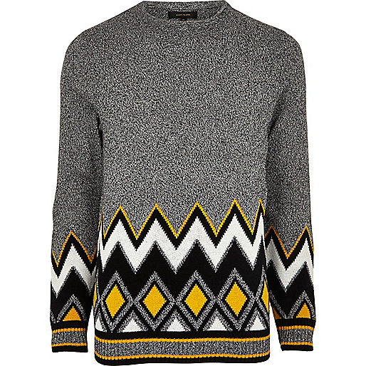 Grey zig zag twist sweater