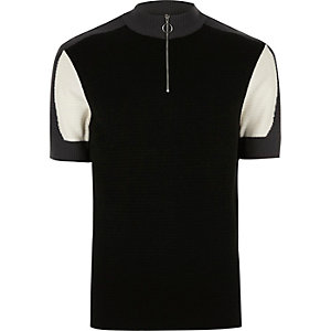 Dark grey colour block turtle neck polo shirt