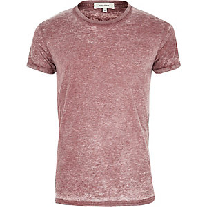 Dark red burnout T-shirt