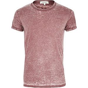 T-shirt effet burnout rouge foncé