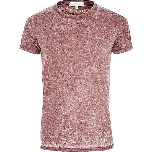 Dunkelrotes Burnout-T-Shirt