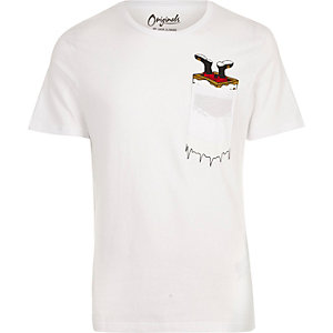 White Jack & Jones chest print T-shirt