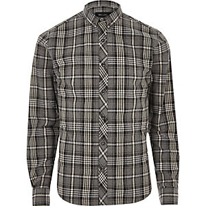 Grey marl Only & Sons casual check shirt
