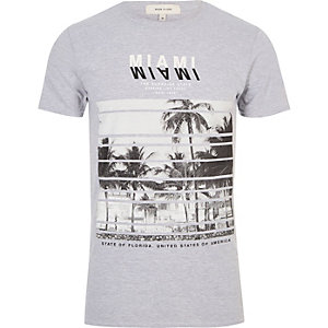 Grey Miami print T-shirt