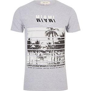 T-shirt gris imprimé Miami