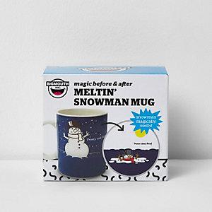 Blue melting snowman Christmas mug