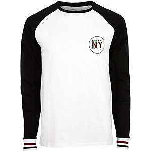 White slim fit long sleeve T-shirt