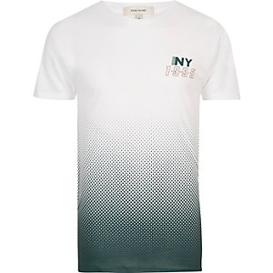 White and green NY faded print T-shirt