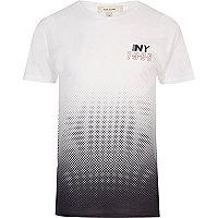 Weiß-lila T-Shirt mit NY-Print