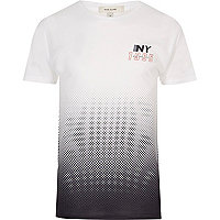 White and purple NY faded print T-shirt