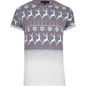White faded fairisle print T-shirt