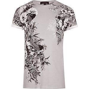 T-shirt grège à imprimé oriental