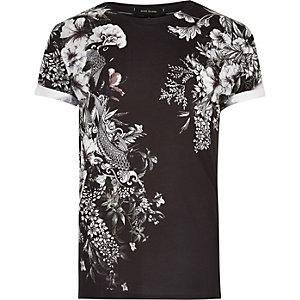 T-shirt noir à imprimé oriental