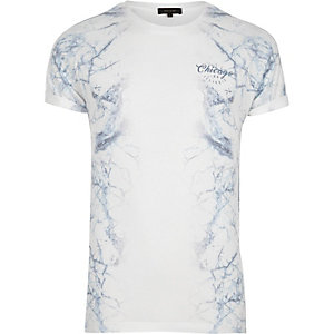White side marble print T-shirt