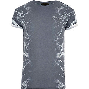 Grey side marble print T-shirt