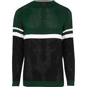 Green color block sweater