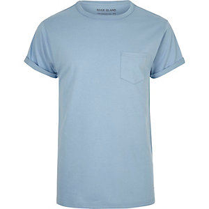 Light blue regular fit cotton T-shirt