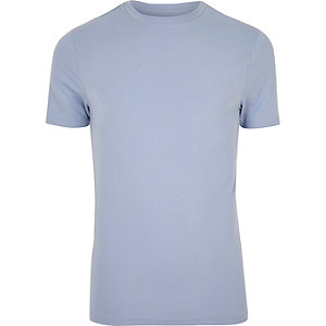 Light blue muscle fit cotton T-shirt