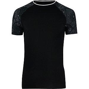 Black bandana print raglan T-shirt