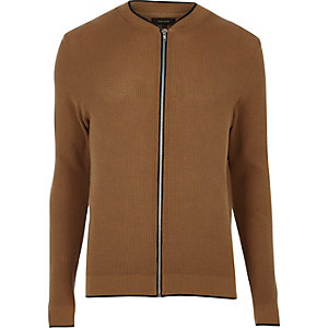 Brown ribbed cardigan bomber jacket