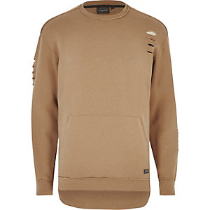 Camel Jack & Jones ripped pocket sweatshirt